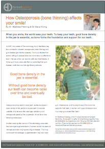 How Osteoporosis (bone thinning) affects your smile!